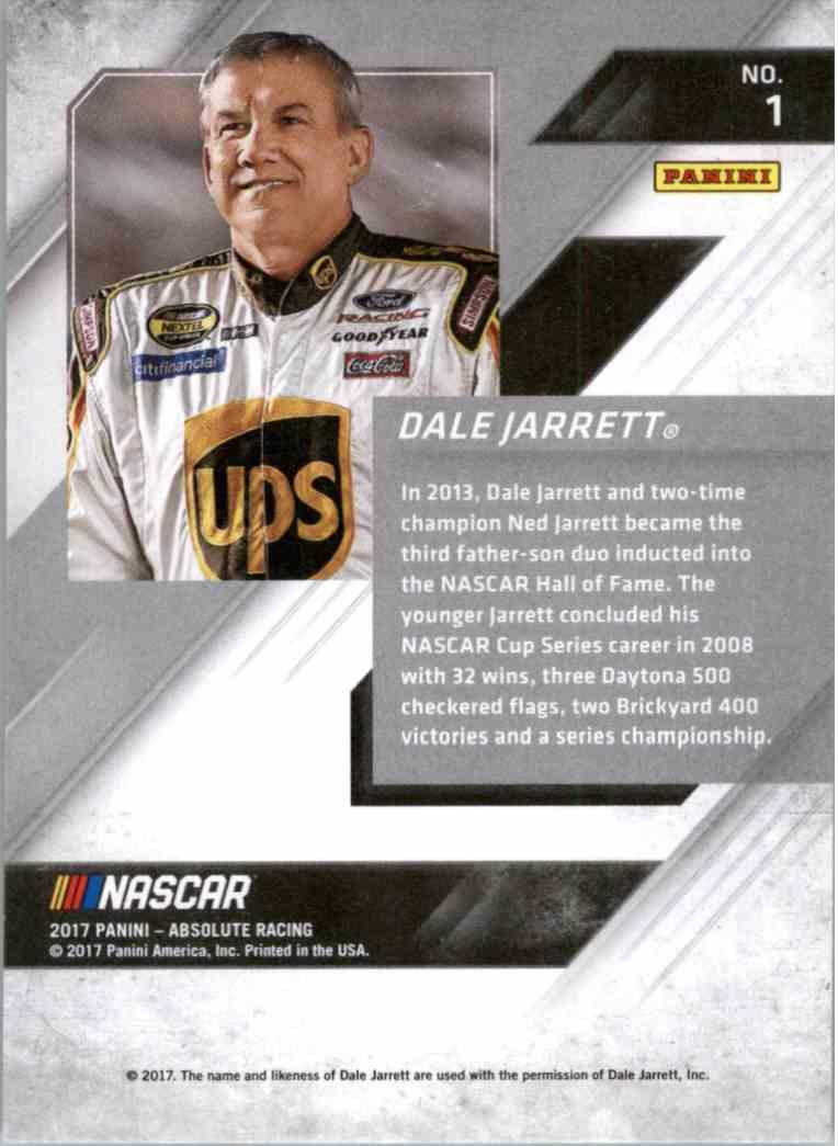 2017 Panini Absolute Racing Dale Jarrett #1 card back image