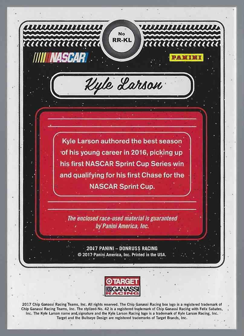 2017 Donruss Rubber Relics Kyle Larson #RRKL card back image