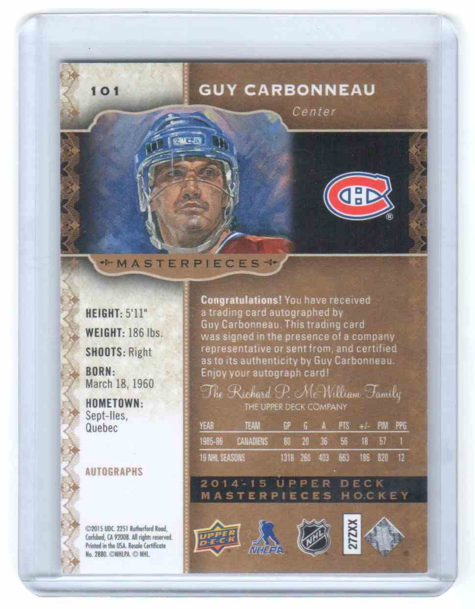 2014-15 UD Upper Deck Masterpieces Guy Carbonneau #101 card back image