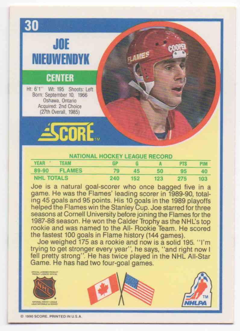 1990-91 Score Joe Nieuwendyk #30 card back image