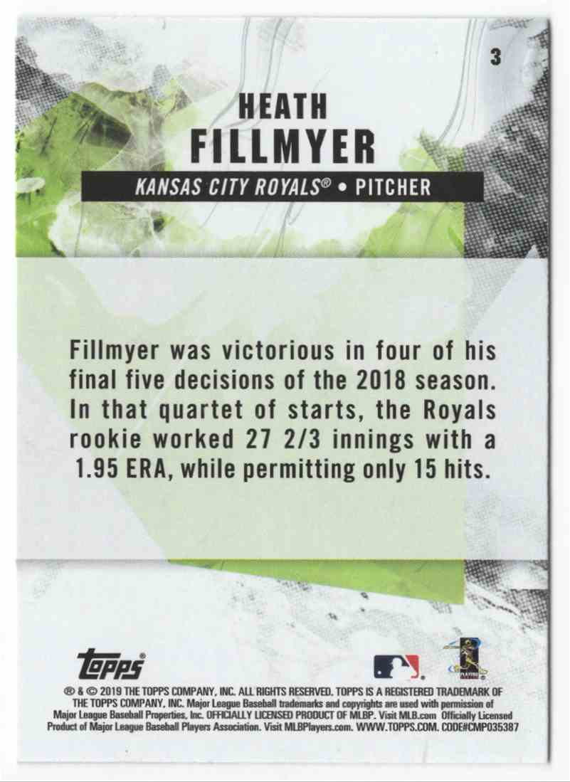 2019 Topps Fire Heath Fillmyer #3 card back image