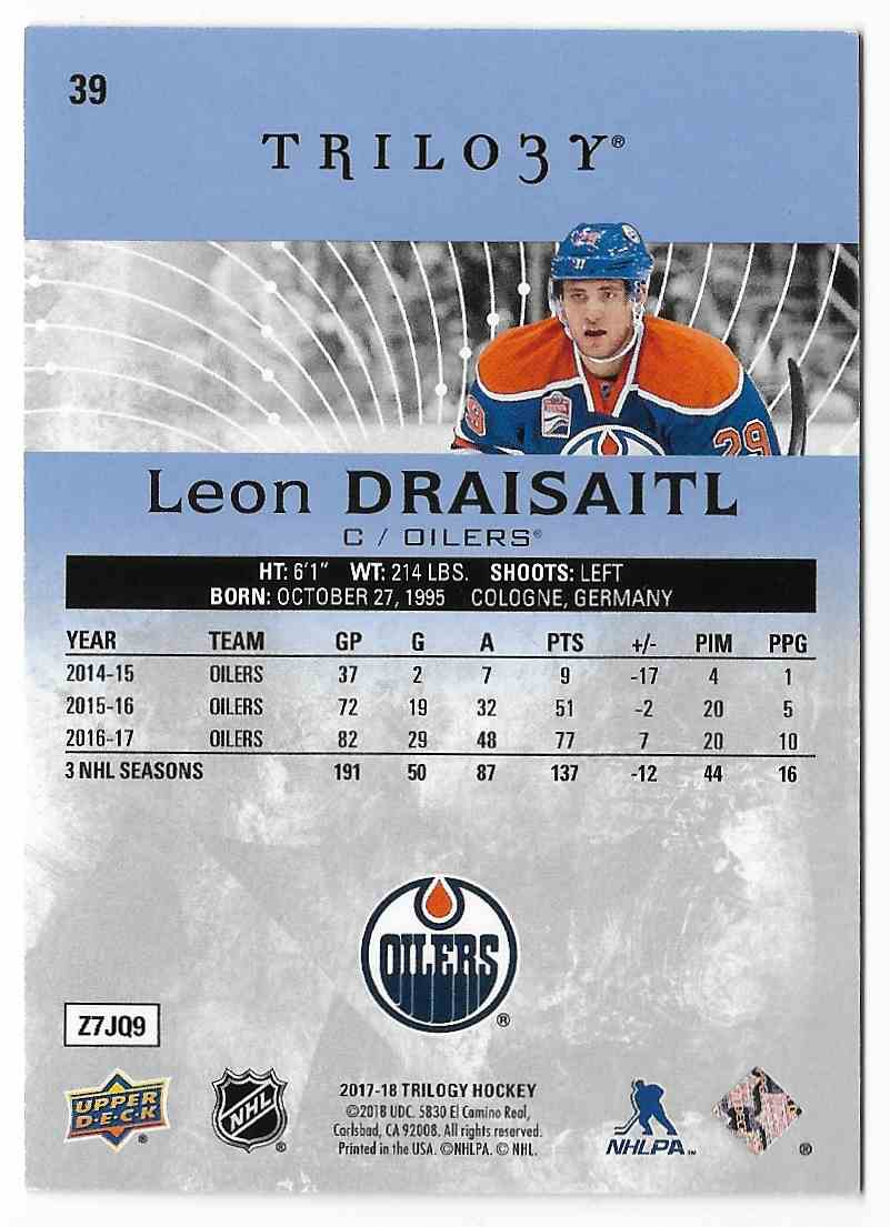 2017-18 Upper Deck Trilogy Leon Draisaitl #39 card back image