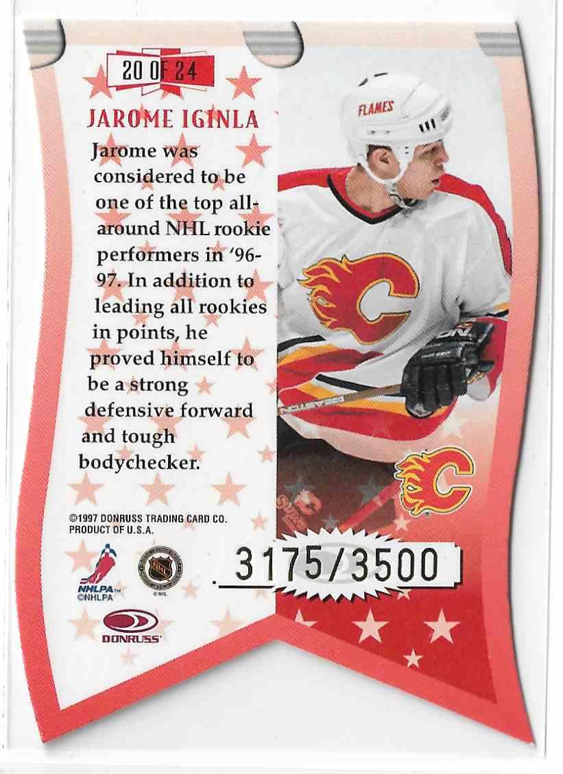 1997-98 Leaf Banner Season Jarome Iginla #20 card back image