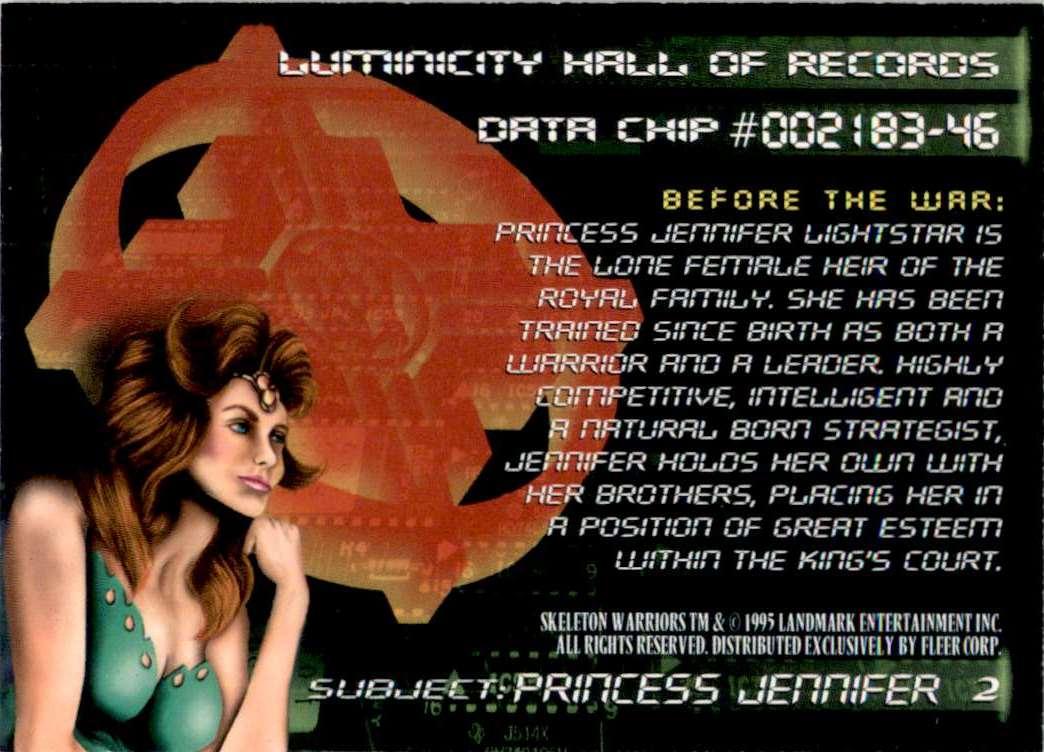 1995 Skeleton Warriors Ultra Princess Jennifer #2 card back image