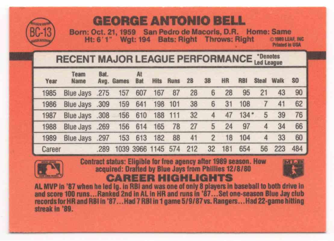 1990 Donruss Bonus MVP's George Bell #BC13 card back image
