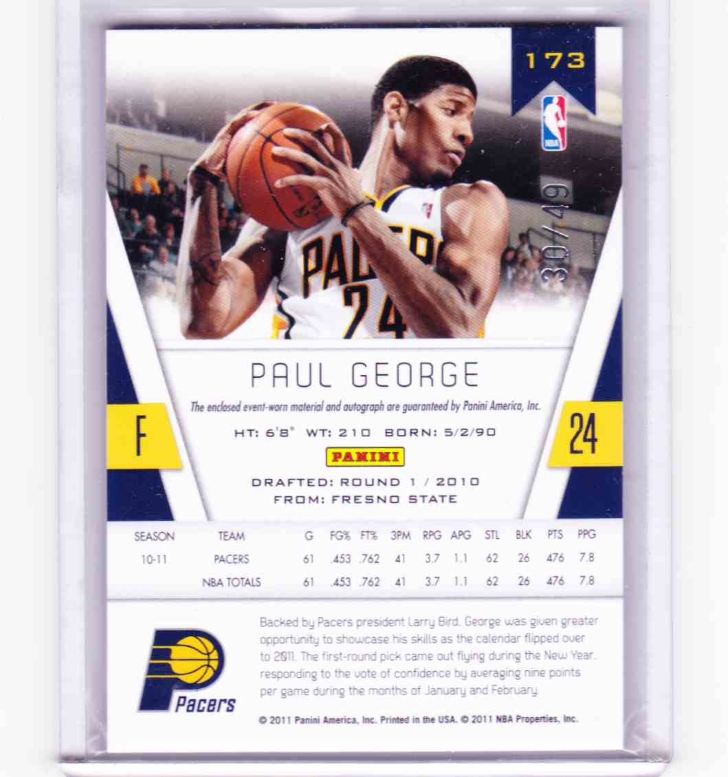 2010-11 Panini Totally Certified Paul George #173 card back image