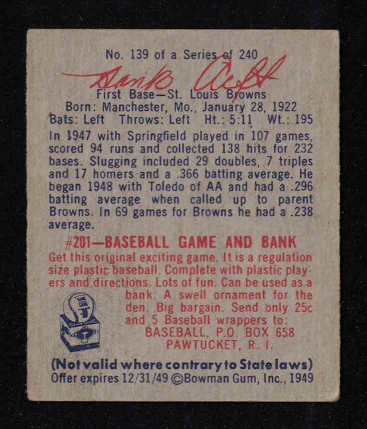 "1949 Bowman Hank ""Bow-Wow"" Arft EX+ #139 card back image"