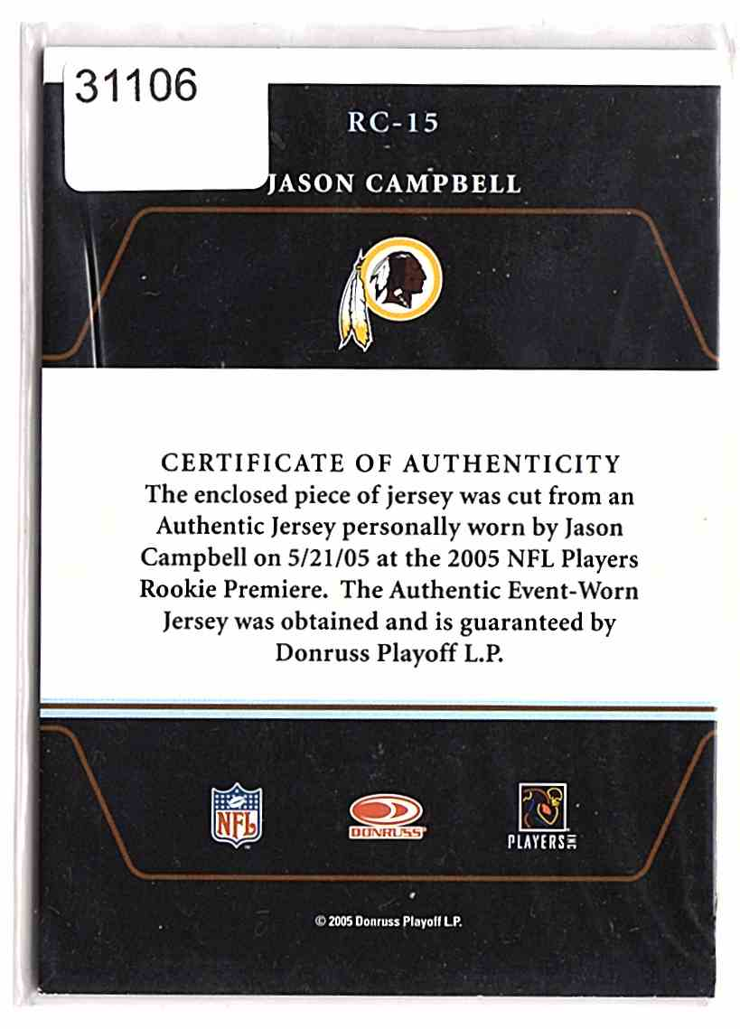 2005 Zenith Rookie Roll Call Jerseys Jason Campbell #RC15 card back image
