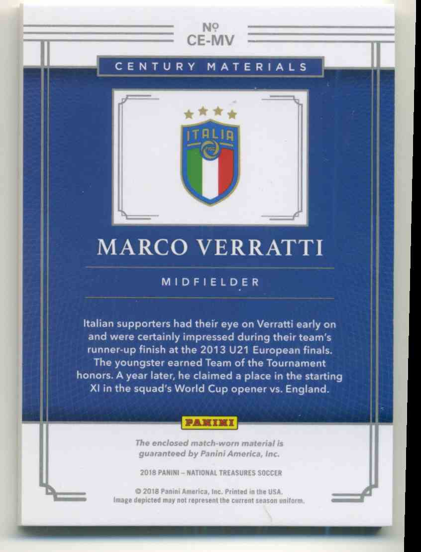 2018 Panini National Treasures Century Materials Marco Verratti #CE-MV card back image