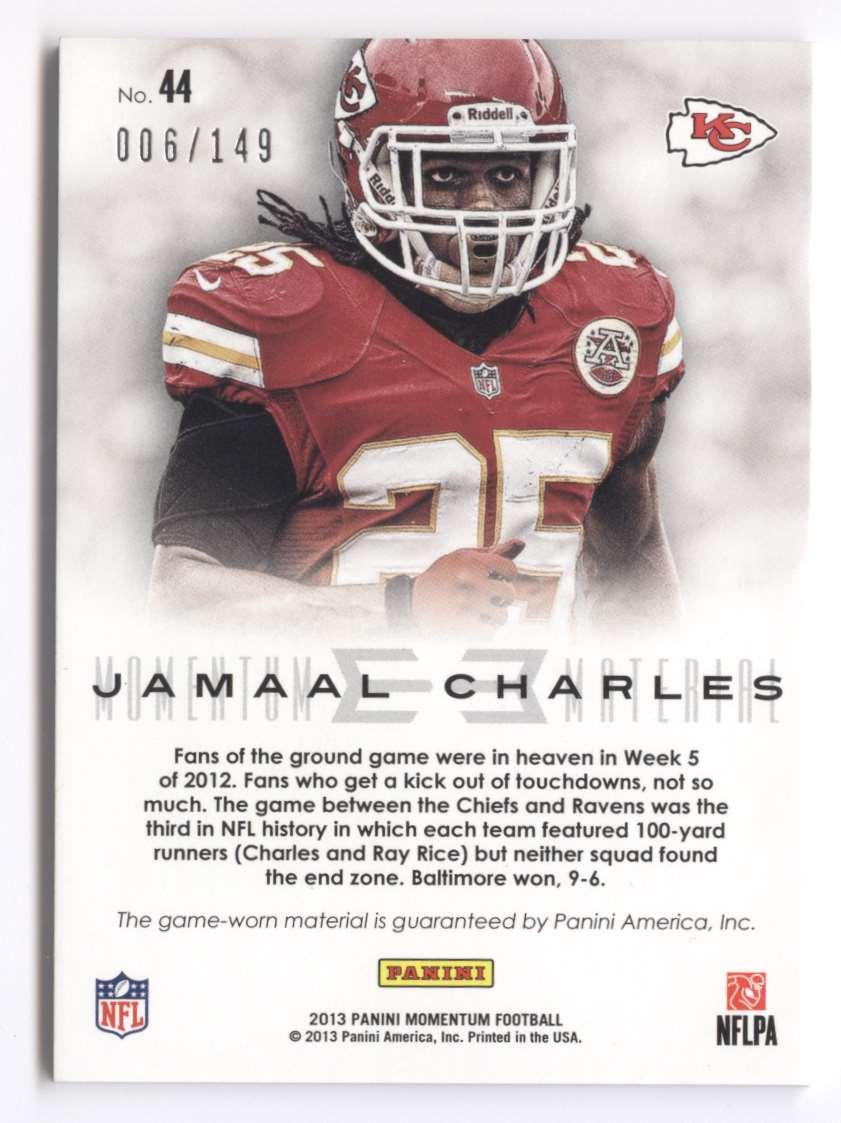 2013 Panini Momentum Momentum Material Jamaal Charles #44 card back image