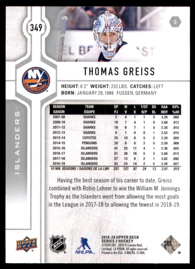 2019-20 Upper Deck Thomas Greiss #349 card back image