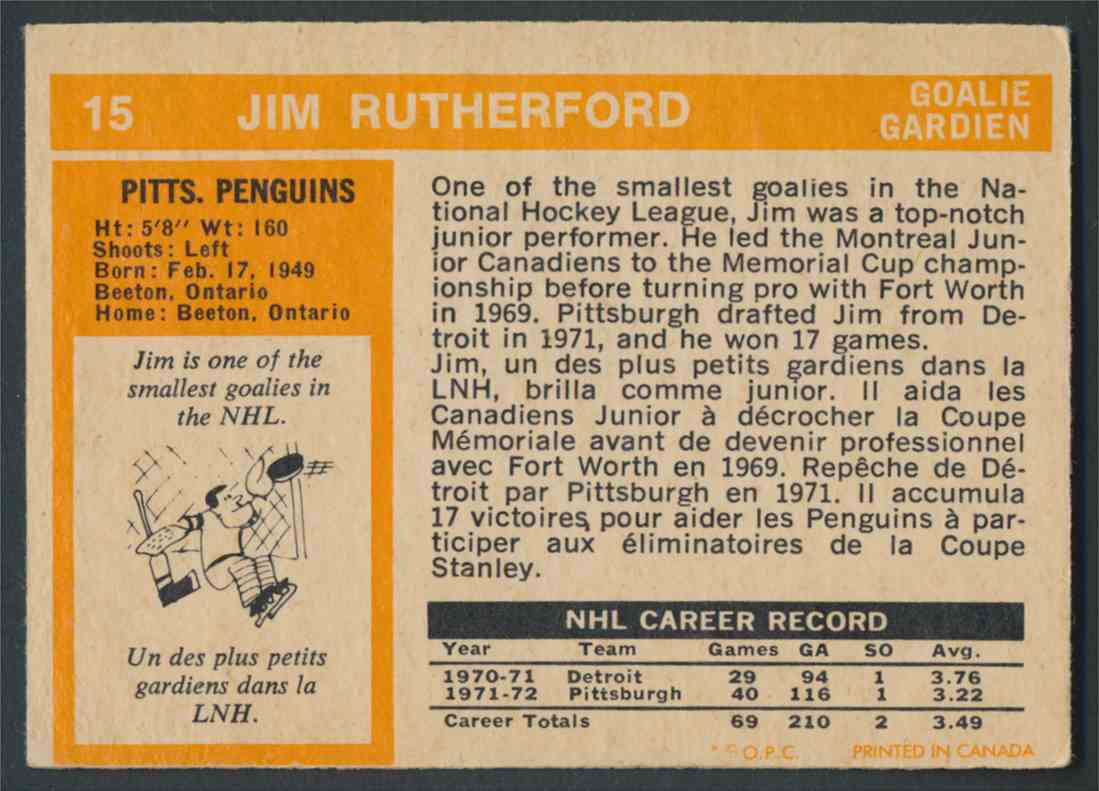 1972-73 O-Pee-Chee Jim Rutherford #15 card back image