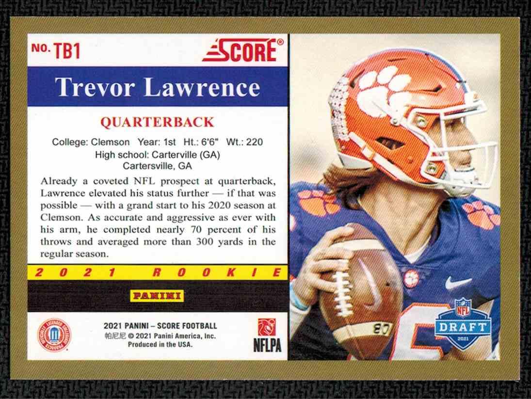 2021 Panini Score Trevor Lawrence #TB1 card back image