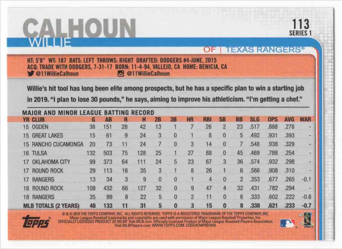 2019 Topps Willie Calhoun Fs #113 card back image