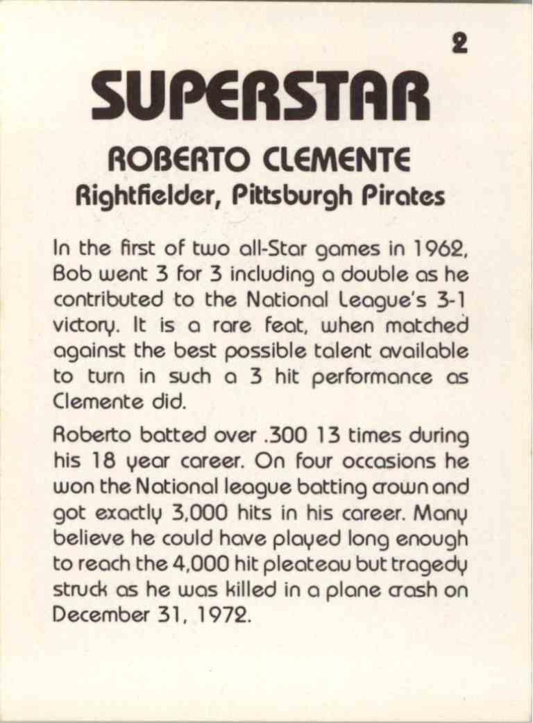 1980 Seckeli Superstar - Roberto Clemente - #2 card back image