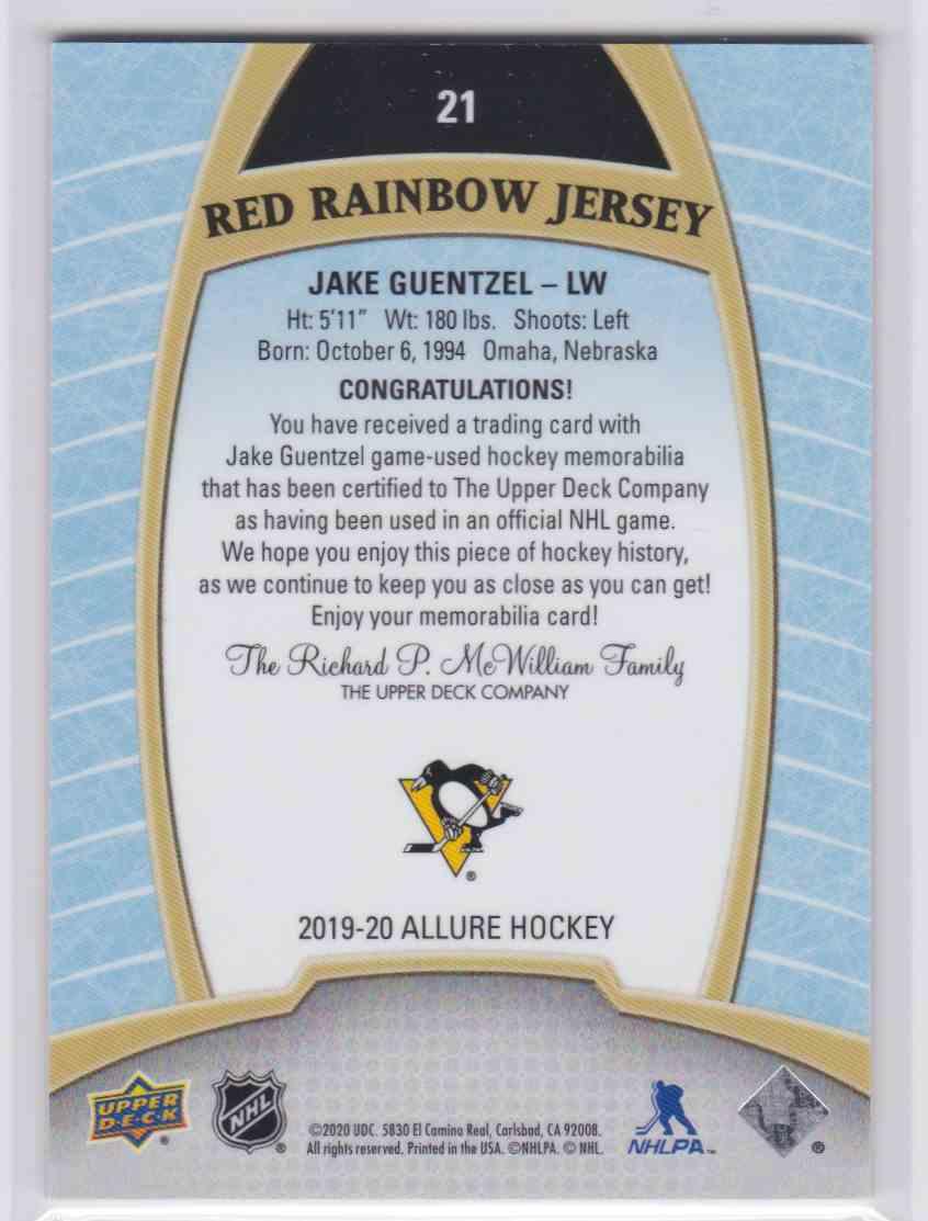 2019-20 Upper Deck Hockey Allure Jake Guentzel - Red Rainbow Jersey #21 card back image