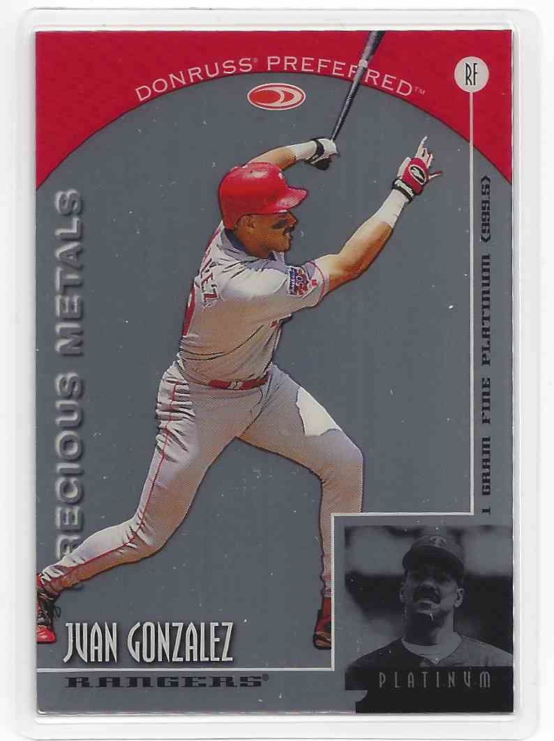 1998 Donruss Preferred Precious Metals Platinum Juan Gonzalez #RF card front image