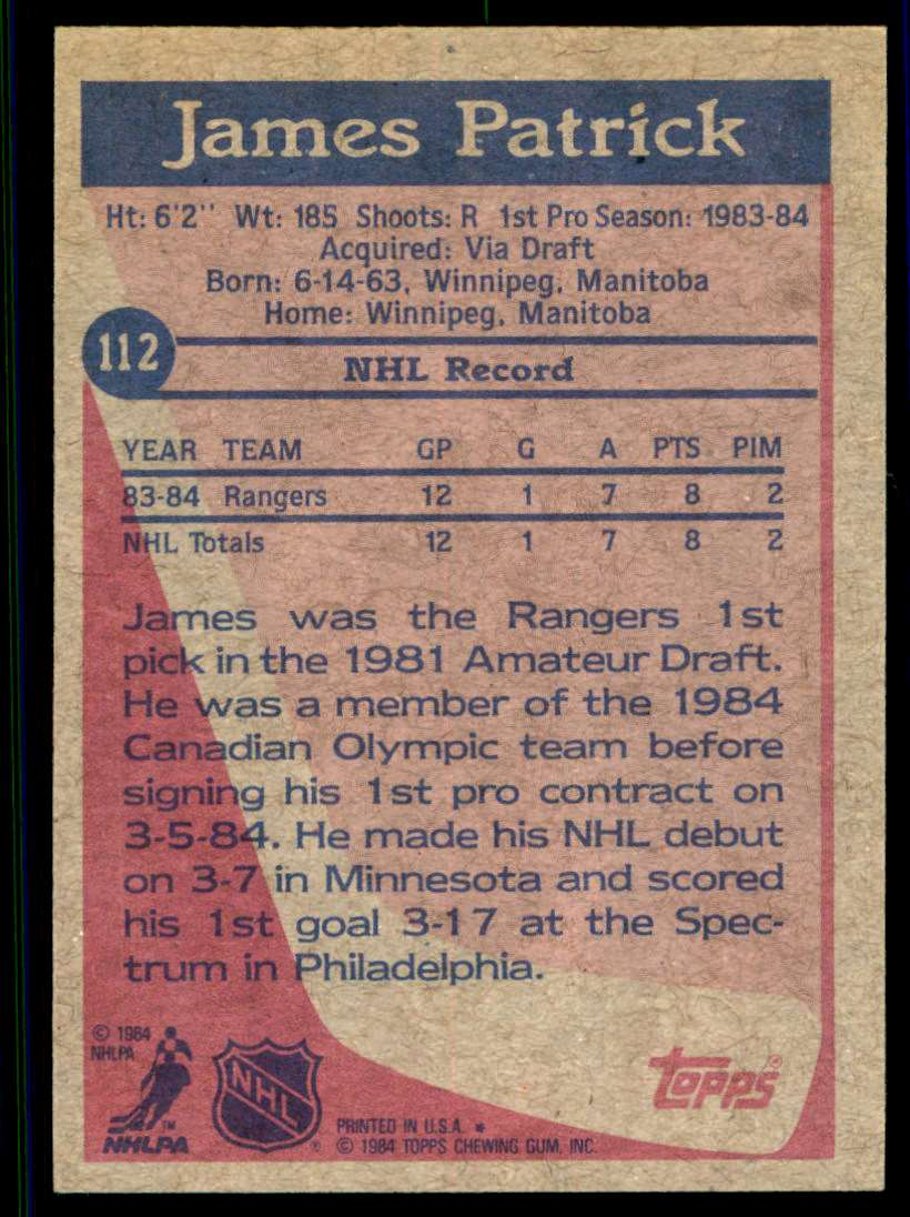 1984-85 Topps James Patrick #112 card back image