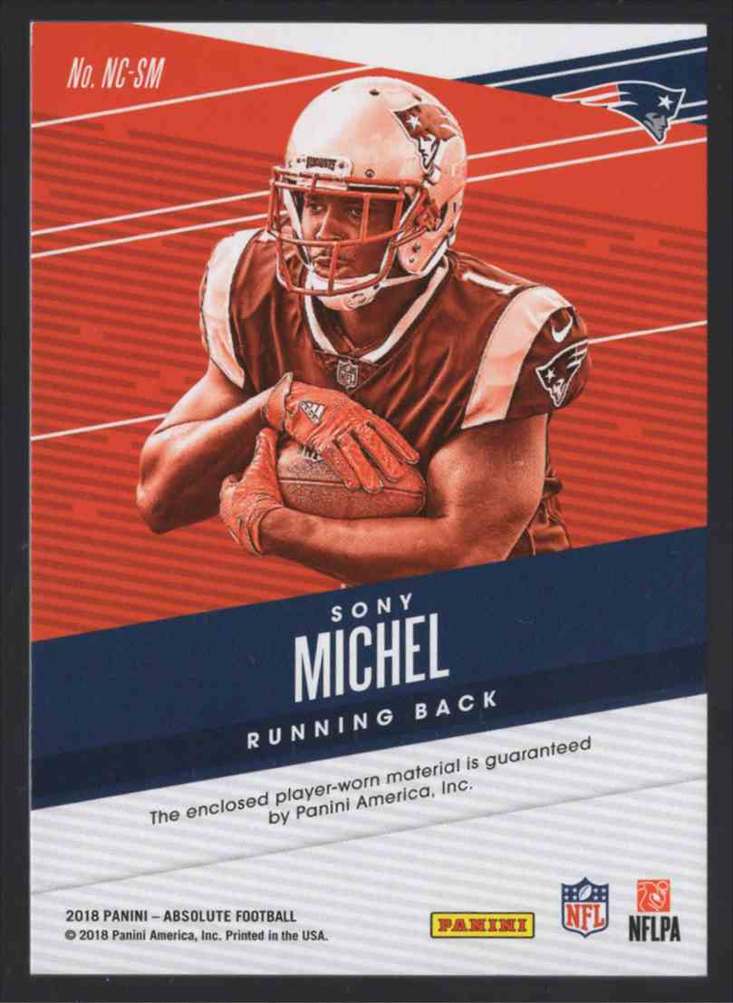 2018 Absolute Newcomers Jerseys Sony Michel #10 card back image