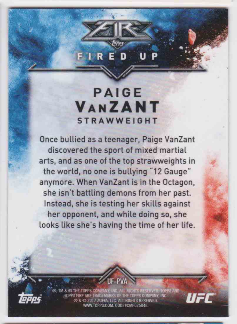 2017 Topps UFC Fired Up Paige Vanzant #UF-PVA card back image