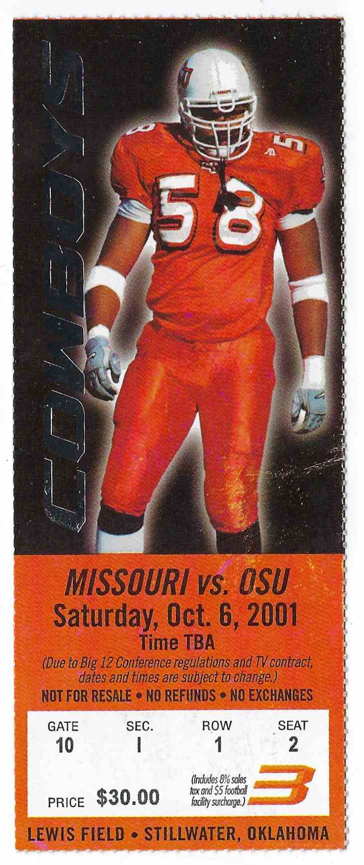 2001 College Football Ticket Stub Missouri Vs Oklahoma State card front image