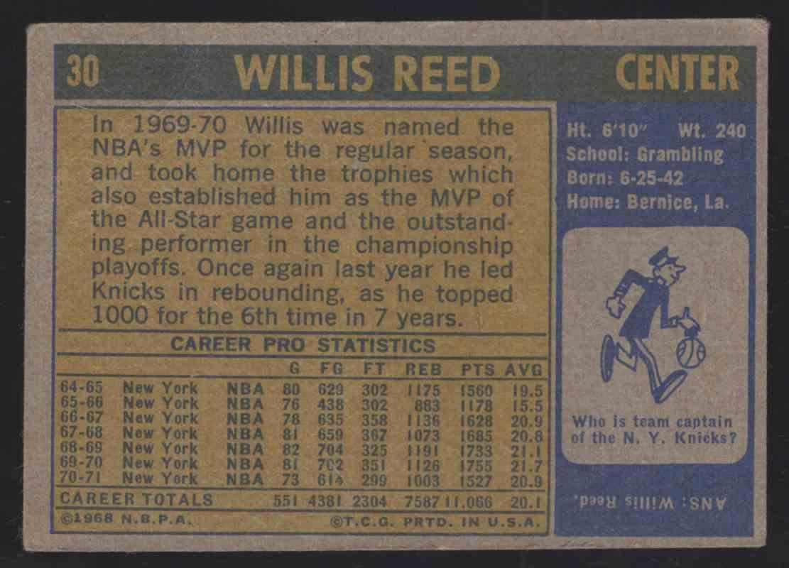 1971-72 Topps Willis Reed #30 card back image