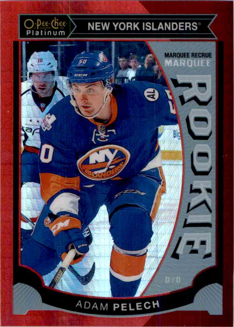 2015-16 O-Pee-Chee Marquee Rookie Red Prism Adam Pelech #M47 card front image
