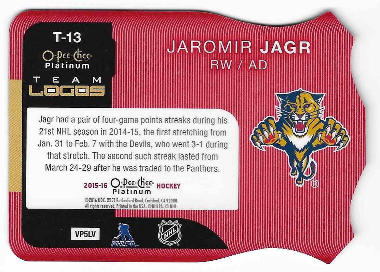 2015-16 O-Pee-Chee Platinum Jaromir Jagr #T-13 card back image