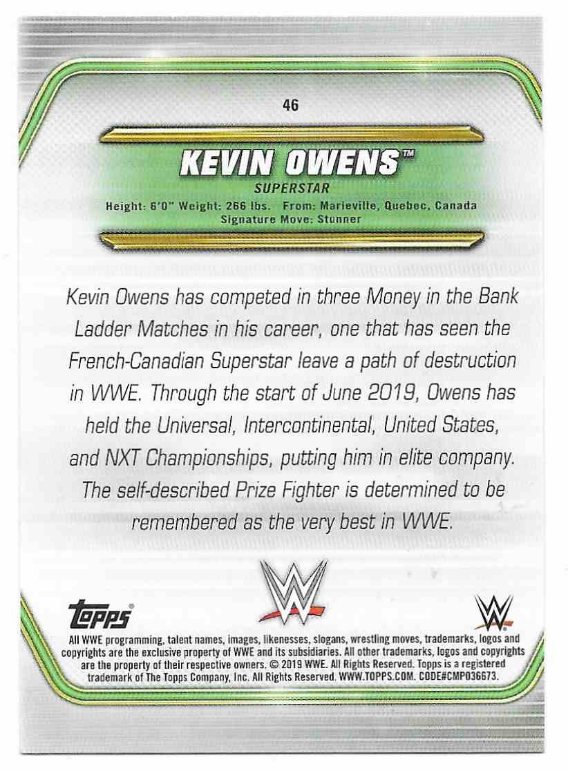 2019 Topps Wwe Money In Then Bank Kevin Owens #46 card back image