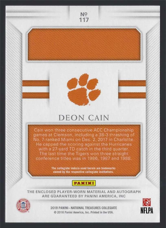 2018 Panini National Treasures Signatures Deon Cain #117 card back image