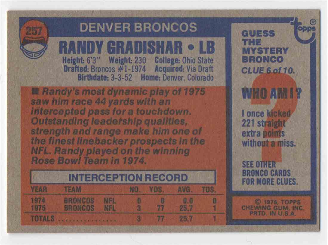 1976 Topps Randy Gradishar #257 card back image