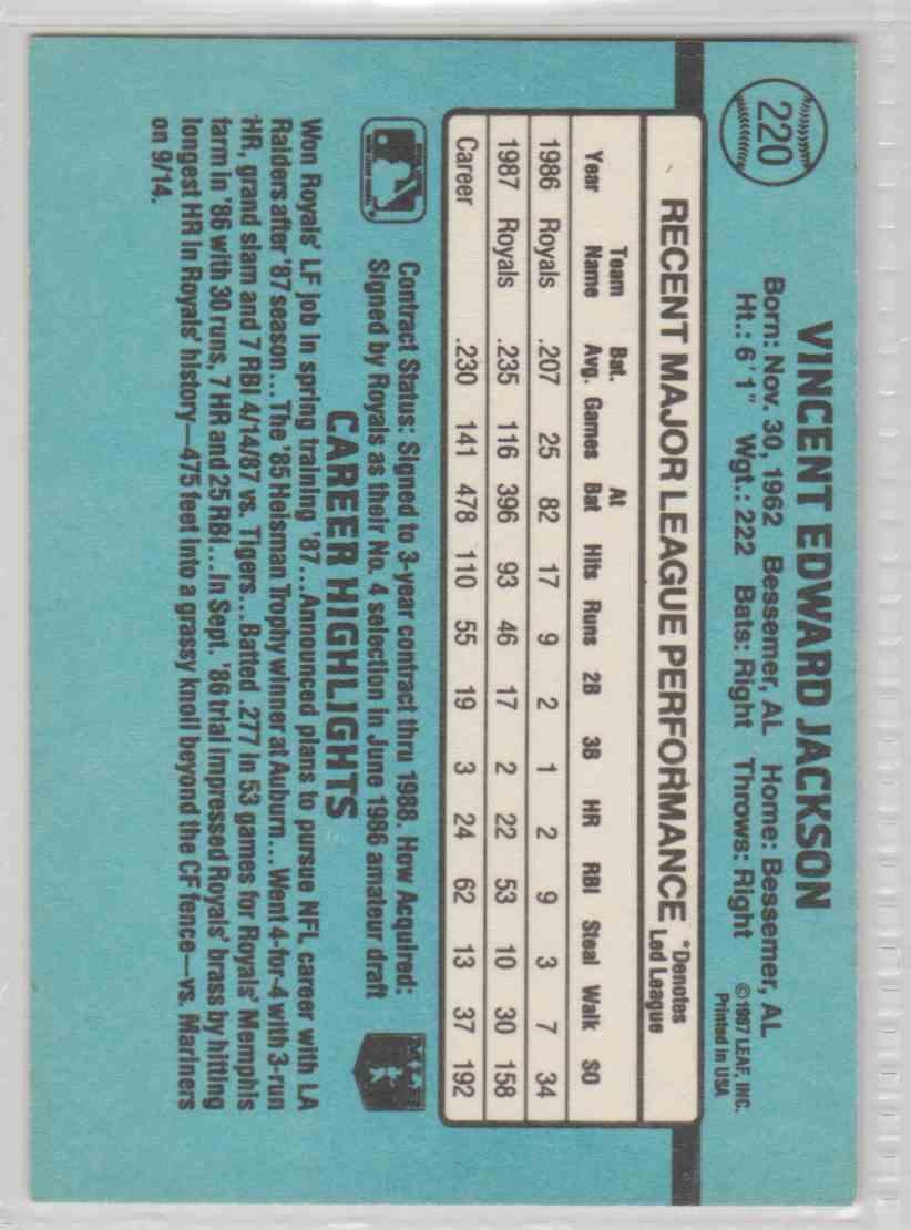 1988 Donruss Bo Jackson #220 card back image