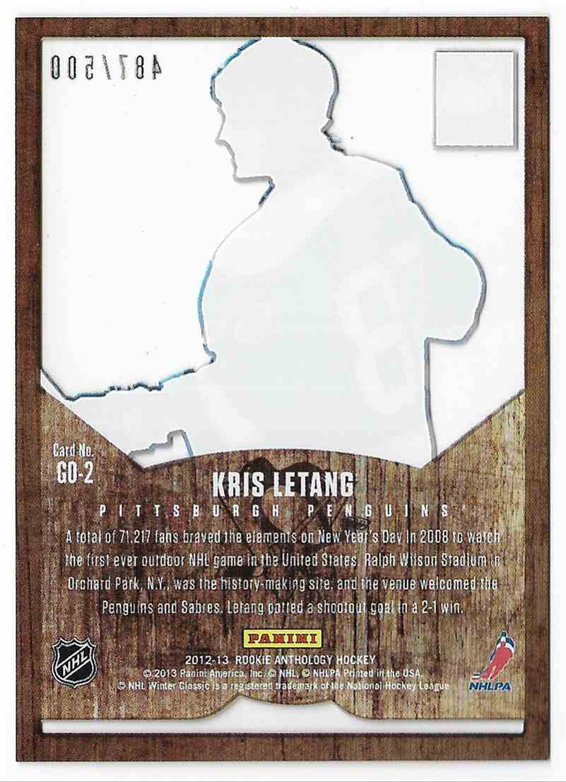 2012-13 Panini Rookie Anthology Kris Letang #GD-2 card back image