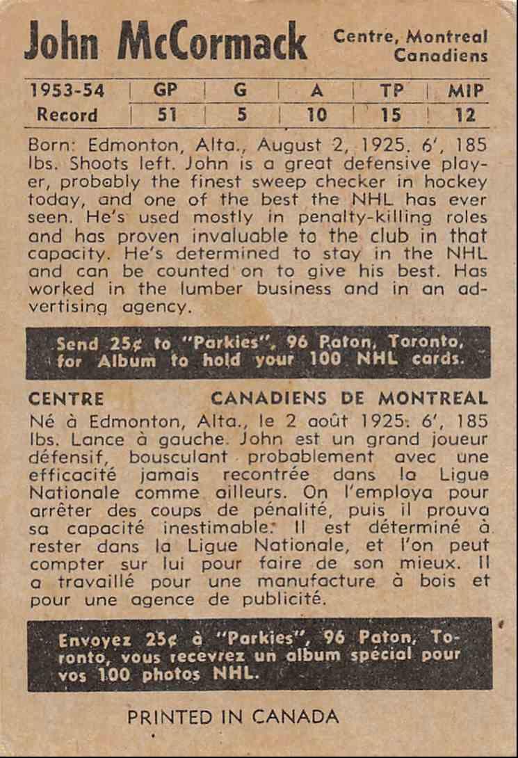 1954-55 Parkhurst John McCormack #9 card back image