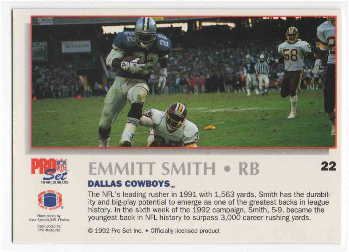 1992 Pro Set Power Emmitt Smith 22 On Kronozio