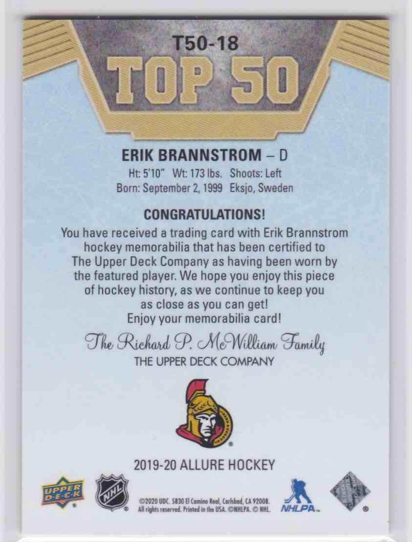 2019-20 Upper Deck Hockey Allure Erik Brannstrom - Top 50 #T50-18 card back image