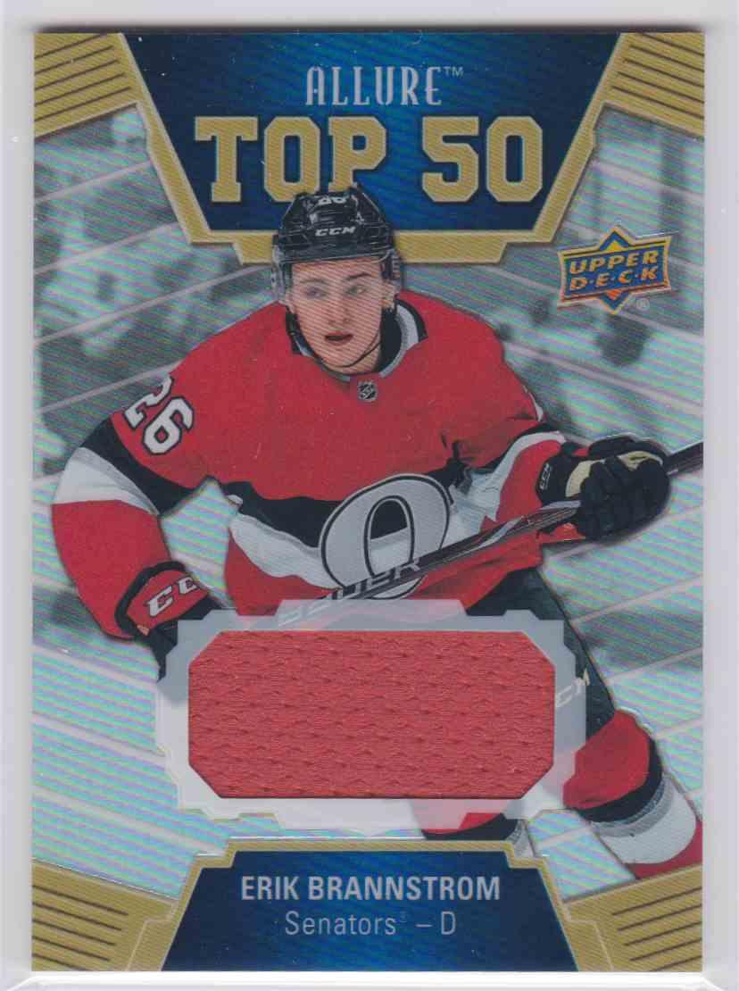 2019-20 Upper Deck Hockey Allure Erik Brannstrom - Top 50 #T50-18 card front image