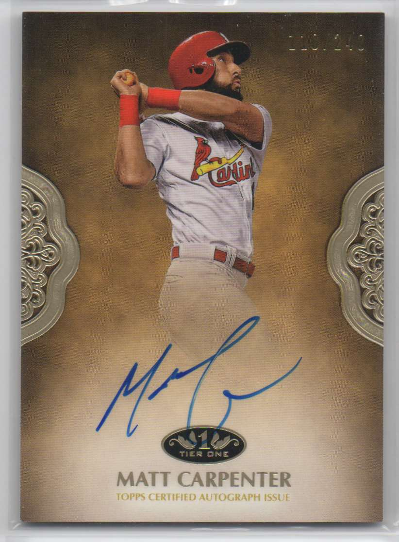 2019 Topps Tier One Prime Performers Autographs Matt Carpenter #PPA-MCA card front image