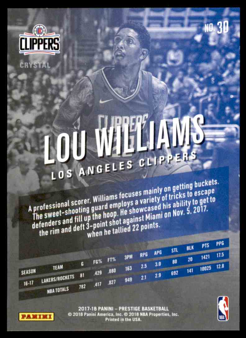 2017-18 Prestige Crystal Lou Williams #30 card back image