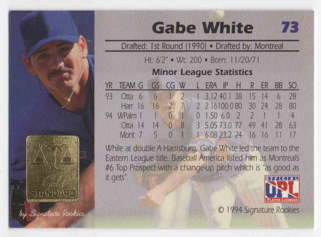1994 Signature Rookies Gold Standard Gabe White #73 card back image
