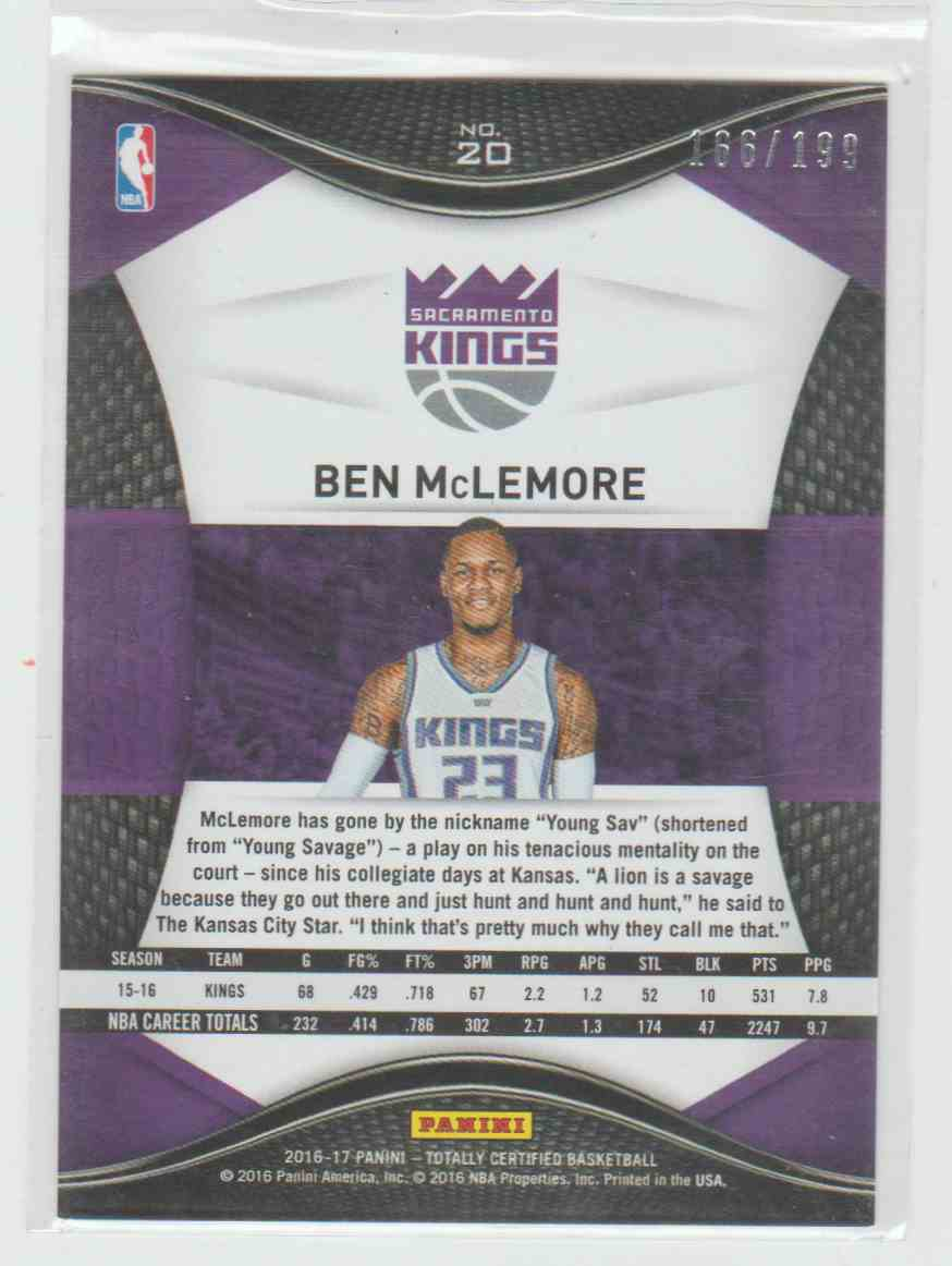 2016-17 Panini Panini Totally Certified Totally Certified Red Ben Mclemore 166/199 #20 card back image