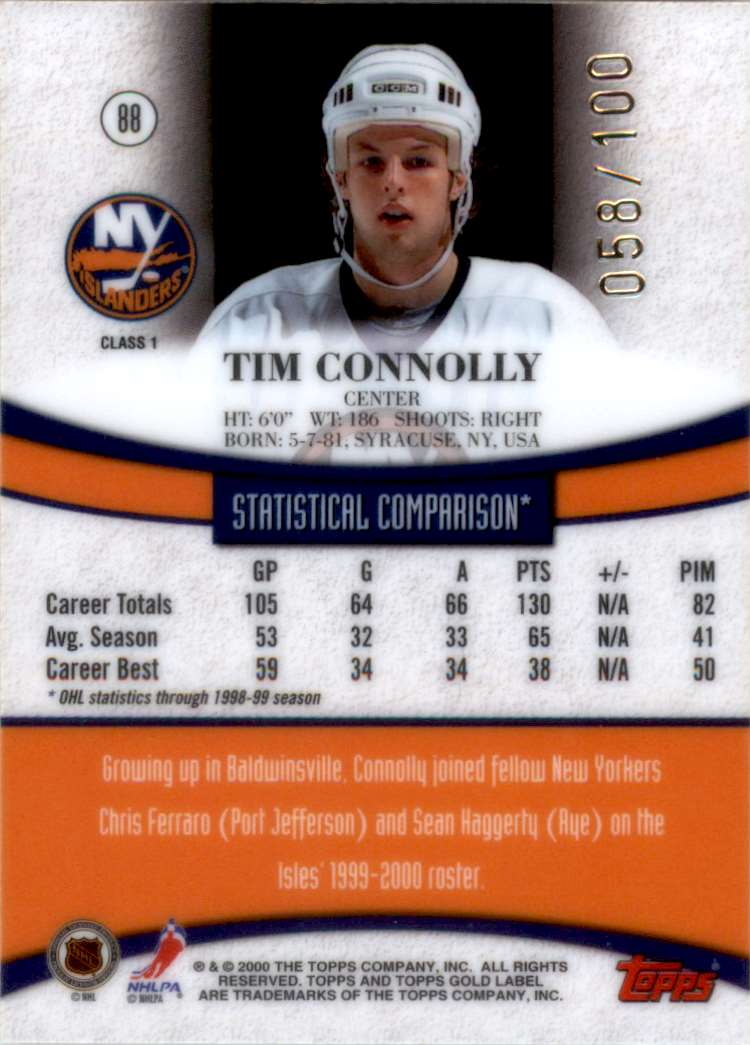 1999-00 Topps Gold Label Class 1 Red Tim Connolly #88 card back image