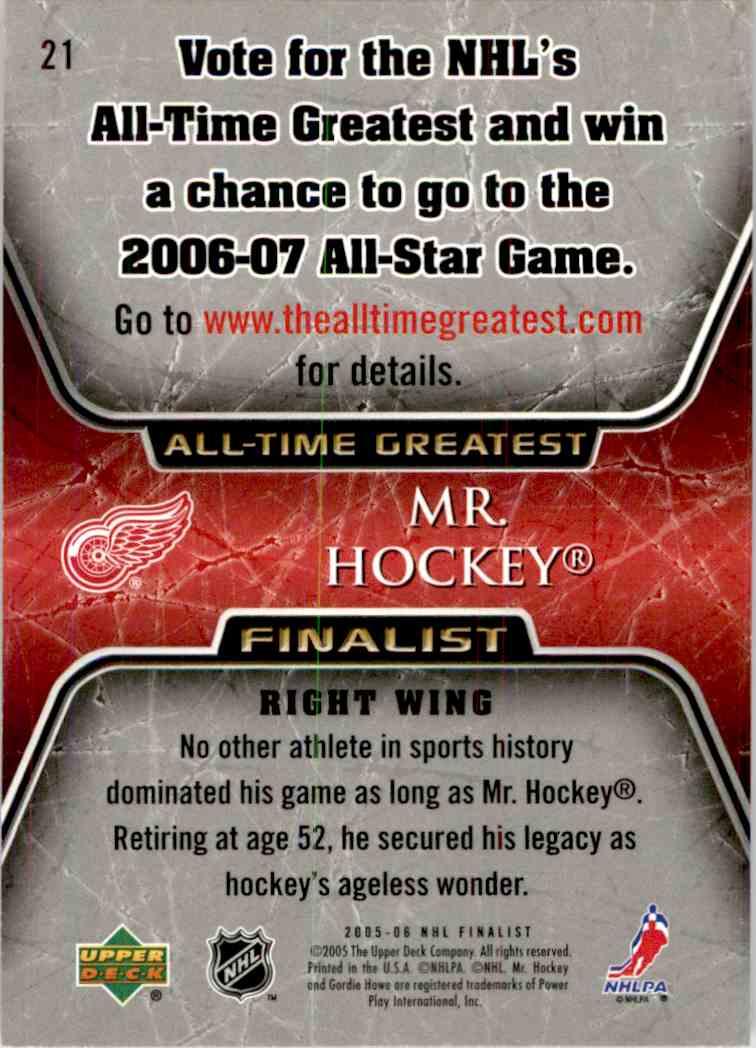 2005-06 Upper Deck All Time Greatest Gordie Howe #21 card back image