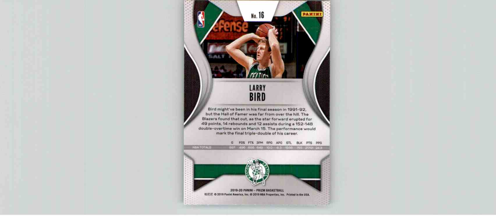 2019-20 Panini Prizm Basketball Prizm Larry Bird #16 card back image