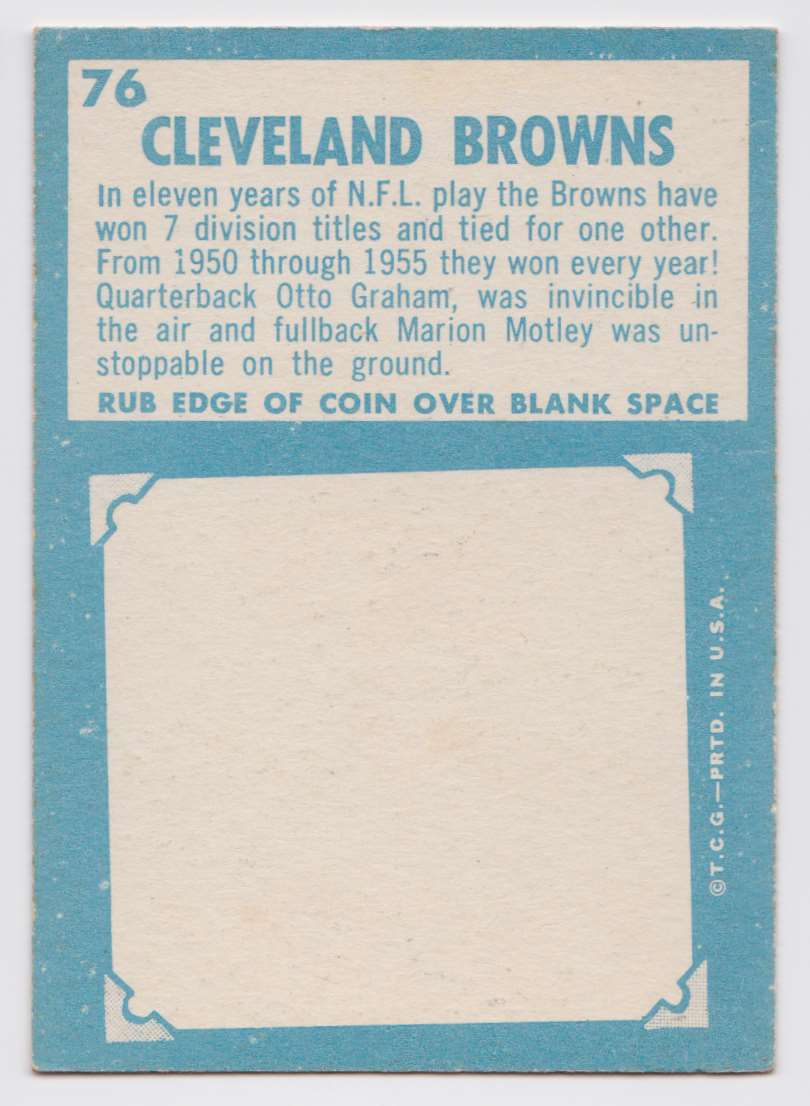 1961 Topps Browns Team #76 card back image