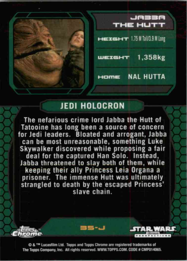 2015 Topps Chrome Star Wars Jedi Temple Archives Jabba The Hutt #35-J card back image