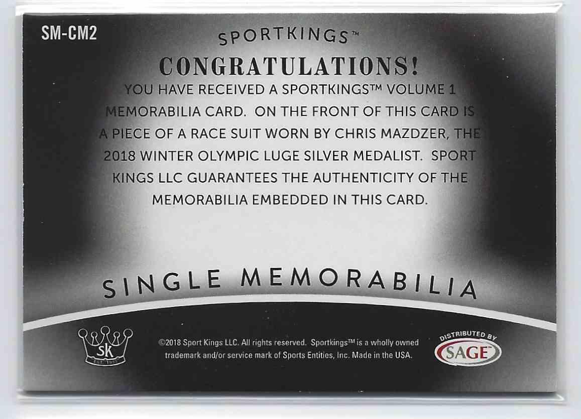 2018 Sportkings Single Memorabilia Chris Mazdzer #SM-CM2 card back image