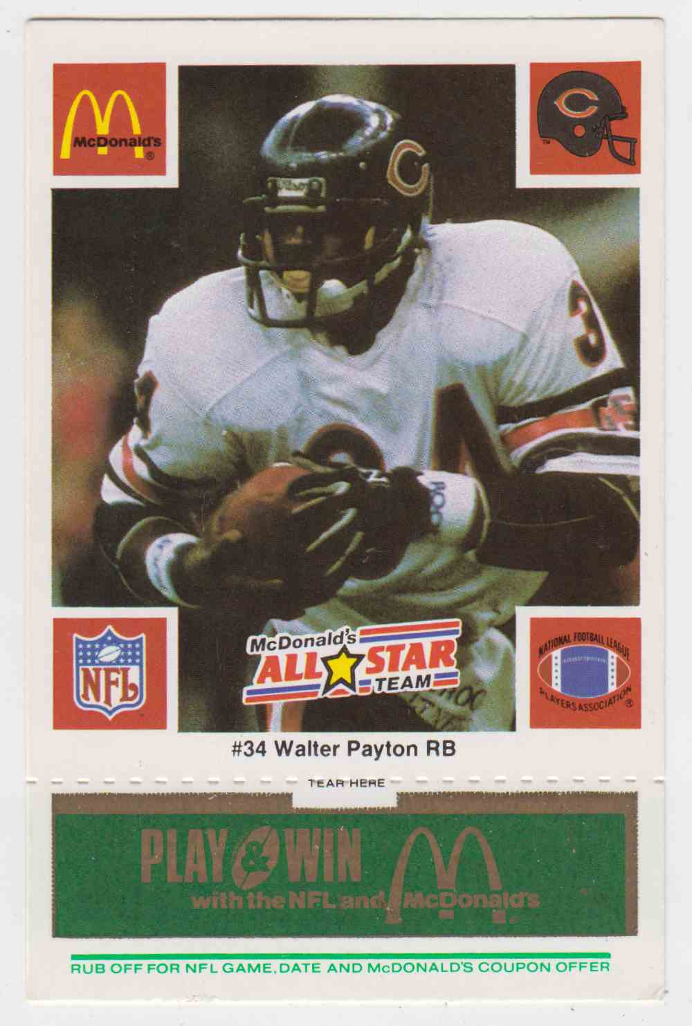 1986 NFL All Star Mcdonald Walter Payton #34B card front image