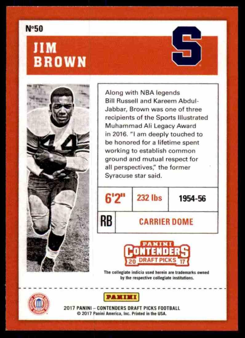 2017 Panini Contenders Draft Picks Football #50 Jim Brown Syracuse