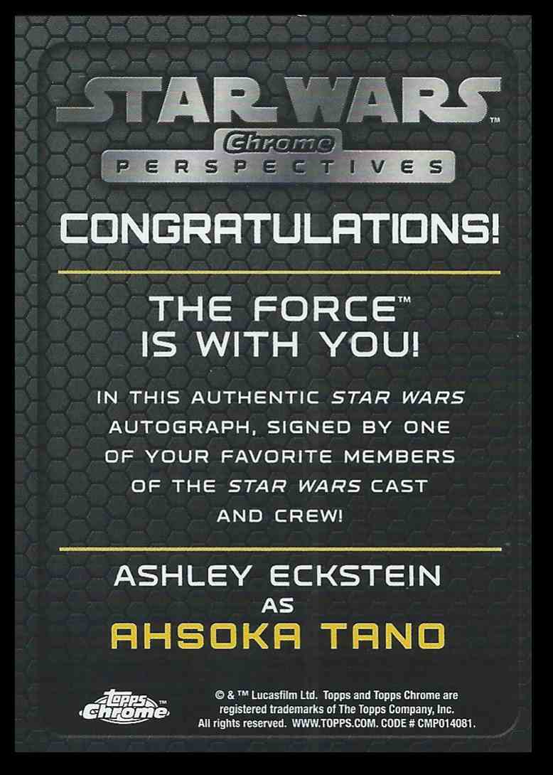 2015 Topps Chrome Star Wars Perspectives Ashley Eckstein / Ahsoka Tano #NNO card back image